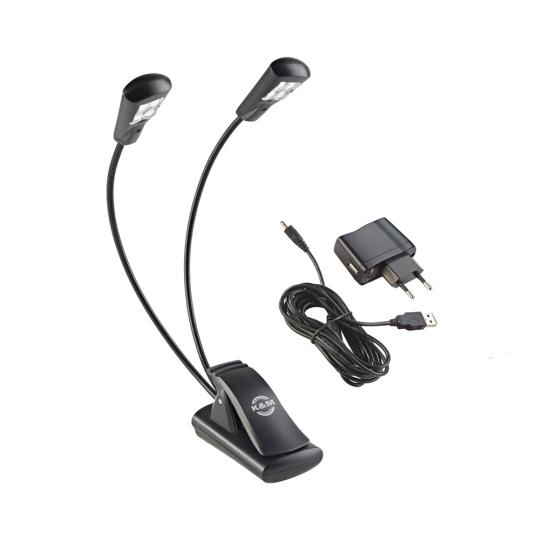 K & M Notenpultleuchte »Double4 LED FlexLight« - schwarz, incl. Netzteil