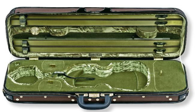 Original Jaeger Prestige-Line Violinkoffer, 4/4 braun / grün