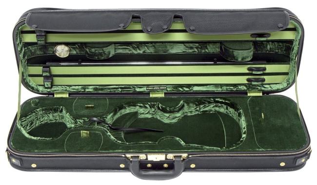 GEWA Original Jaeger Prestige-Line Violinkoffer, 4/4 Carbonoptik schwarz / grün