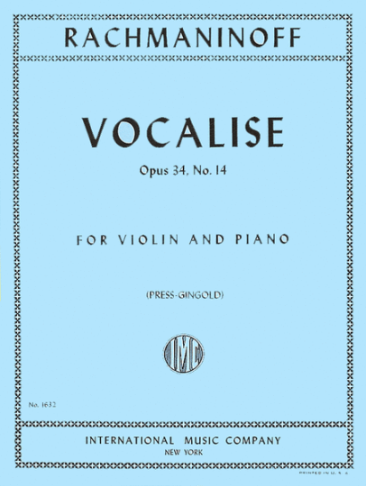 Rachmaninoff, Vocalise, Opus 34, No. 14