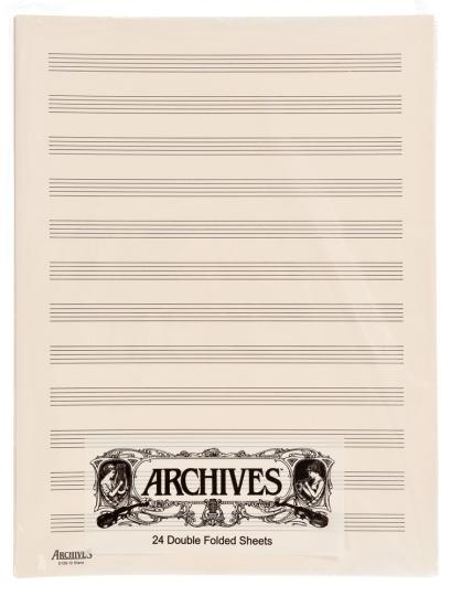Doppelseiten Notenblätter mit 12  Notenbalken - 24 Blatt