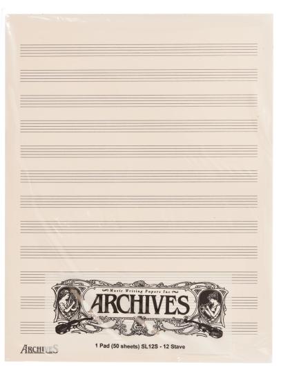 Manuskript Notenblöcke mit 12 Notenbalken - 50 Blatt
